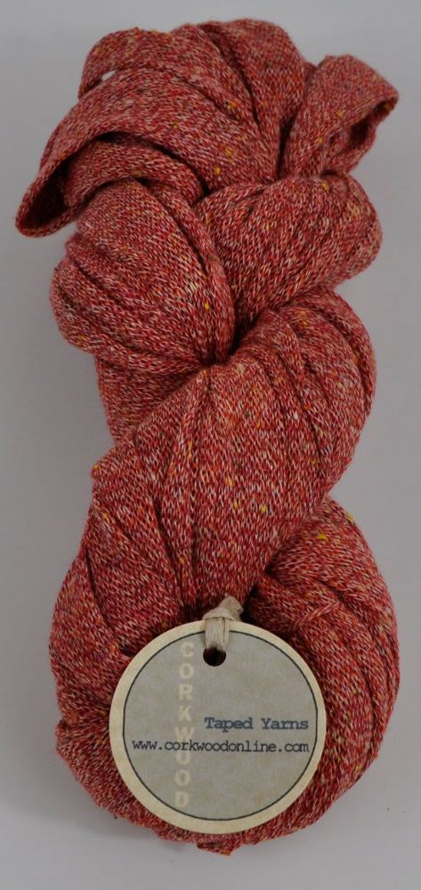 Sunset red pink melange viscose silk mix Ultra wide 3/4 inch chunky tape tubular yarn